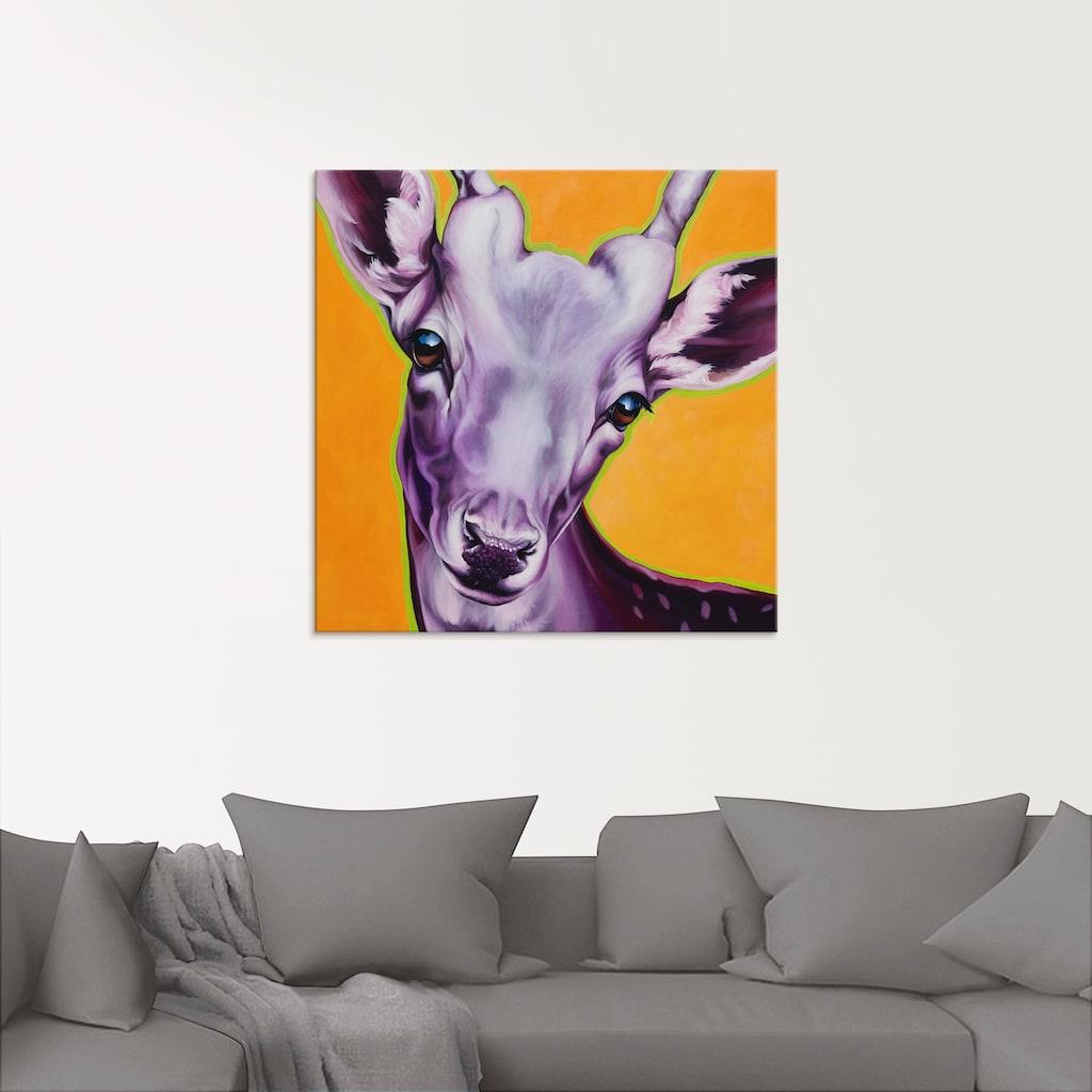 Artland Glasbild »Reh orange«, Wildtiere, (1 St.)