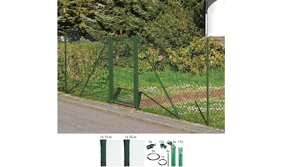 GAH ALBERTS Set: Maschendrahtzaun 125 cm hoch, 40 m, grün beschichtet, zum Einbetonieren kaufen