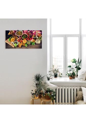 Artland Wandbild »Italienisch mediterrane Lebensmittel«, Lebensmittel, (1 St.), in vielen Größen & Produktarten - Alubild / Outdoorbild für den Außenbereich, Leinwandbild, Poster, Wandaufkleber / Wandtattoo auch für Badezimmer geeignet kaufen