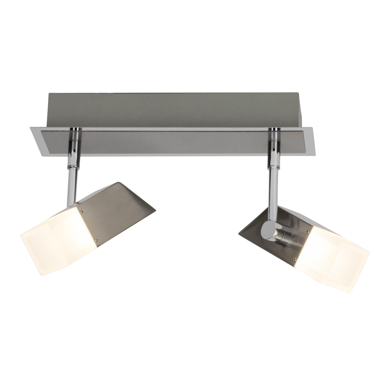Brilliant Leuchten Run LED Spotbalken 2flg eisen/chrom easyDim