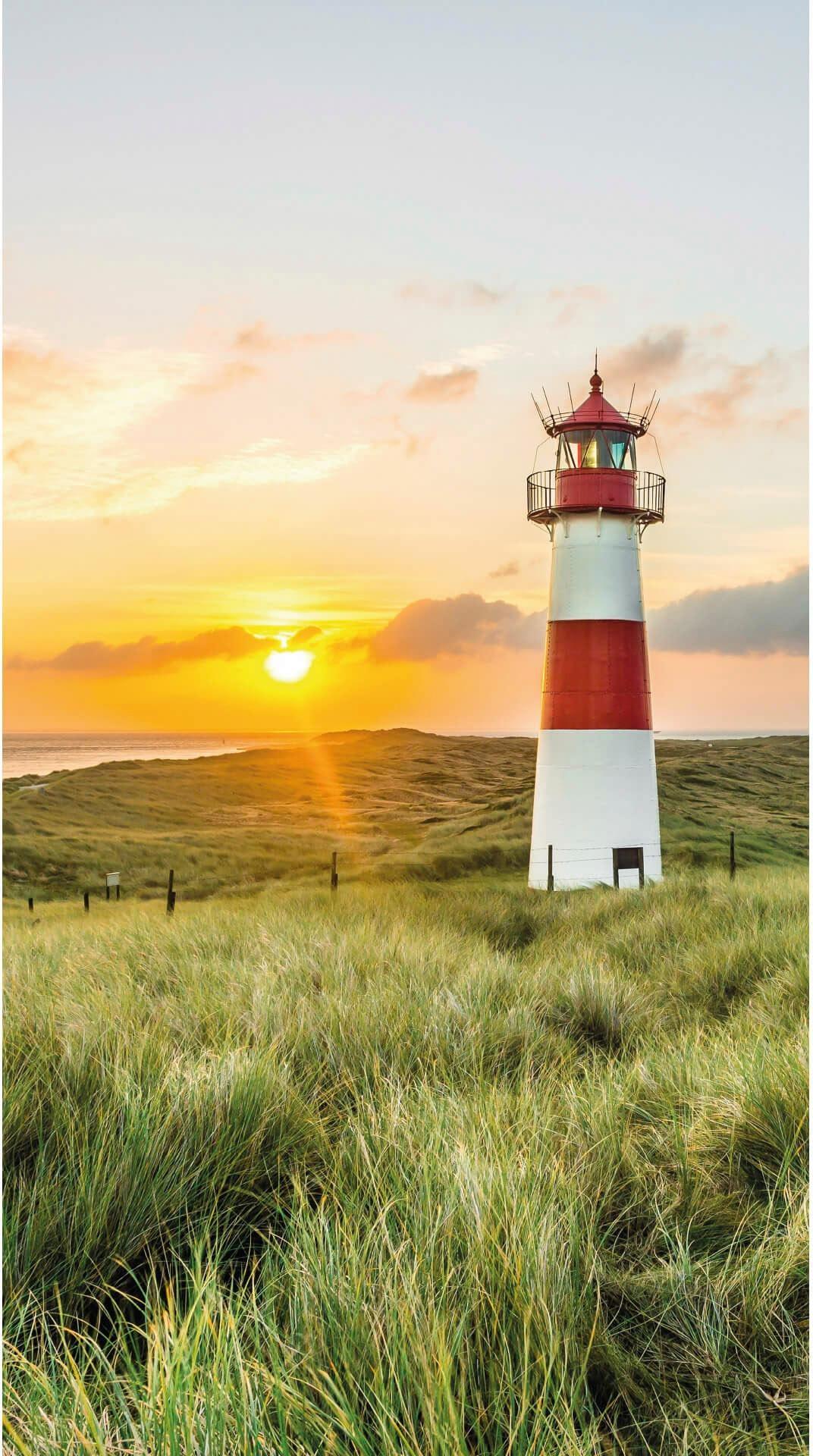 Vliestapete Leuchtturm auf Sylt bunt Fototapeten Tapeten Bauen Renovieren