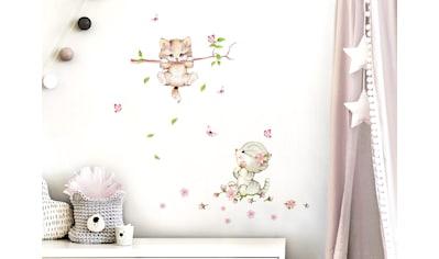 little DECO Wandtattoo »Little Deco Wandtattoo 2 Katzen mit Schmetterlingen« kaufen