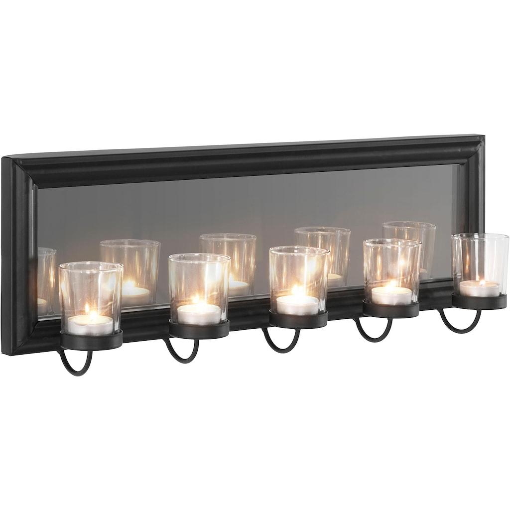 Home affaire Wandkerzenhalter »Mirrow«, Wandleuchter, Kerzenhalter, Kerzenleuchter, Wanddeko, Wanddekoration, mit Teelichthalter und Spiegel