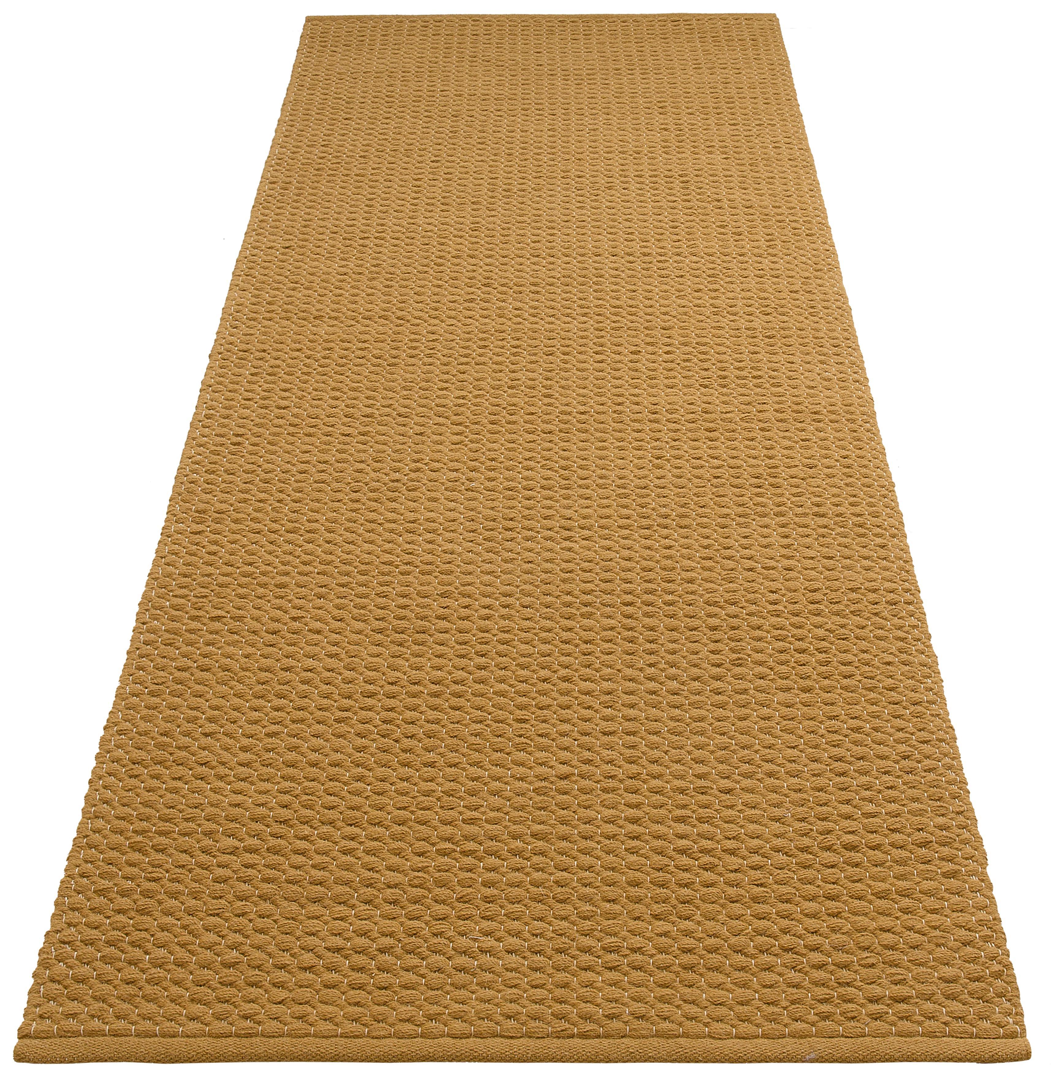 DELAVITA Läufer Sanara, rechteckig, 13 mm Höhe, Strick-Optik gelb Teppichläufer Teppiche und Diele Flur