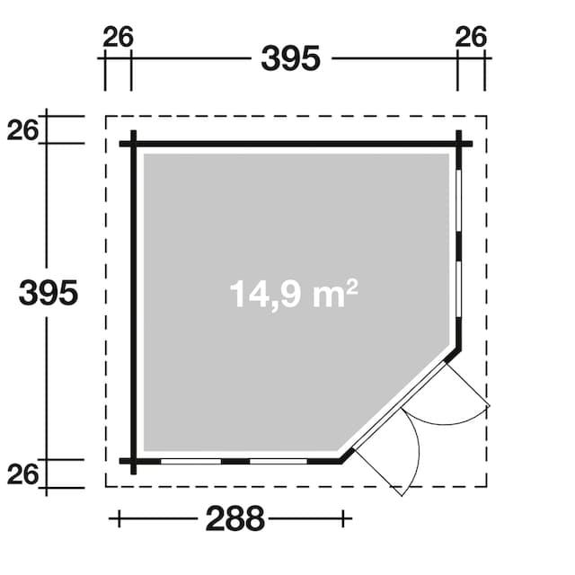 WOLFF FINNHAUS Set: Gartenhaus »Katrin 44-C«, BxT: 447x447 cm, Fußboden, schwarze Schindeln, Dachhaube