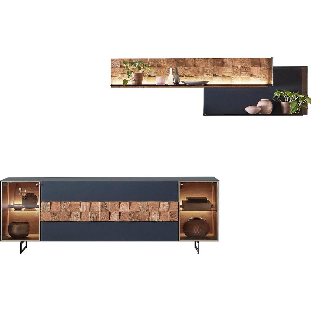 LEONARDO Wohnzimmer-Set »LIV«, (4 St.), Massivholzkacheln enthalten, mit Wandpaneel, in Mattglas blau