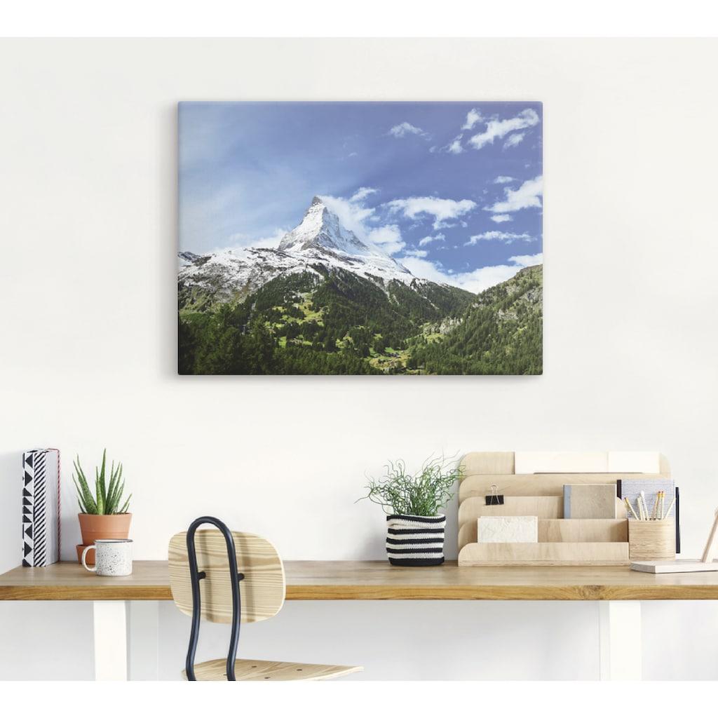 Artland Wandbild »Matterhorn«, Berge, (1 St.), in vielen Größen & Produktarten -Leinwandbild, Poster, Wandaufkleber / Wandtattoo auch für Badezimmer geeignet
