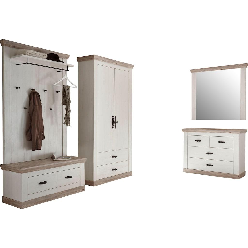 Home affaire Garderoben-Set »Florenz«, (4 St.), bestehend aus 1 Bank, 1 Paneel, 1 Kommode, 1 Spiegel und 1 Stauraumschrank