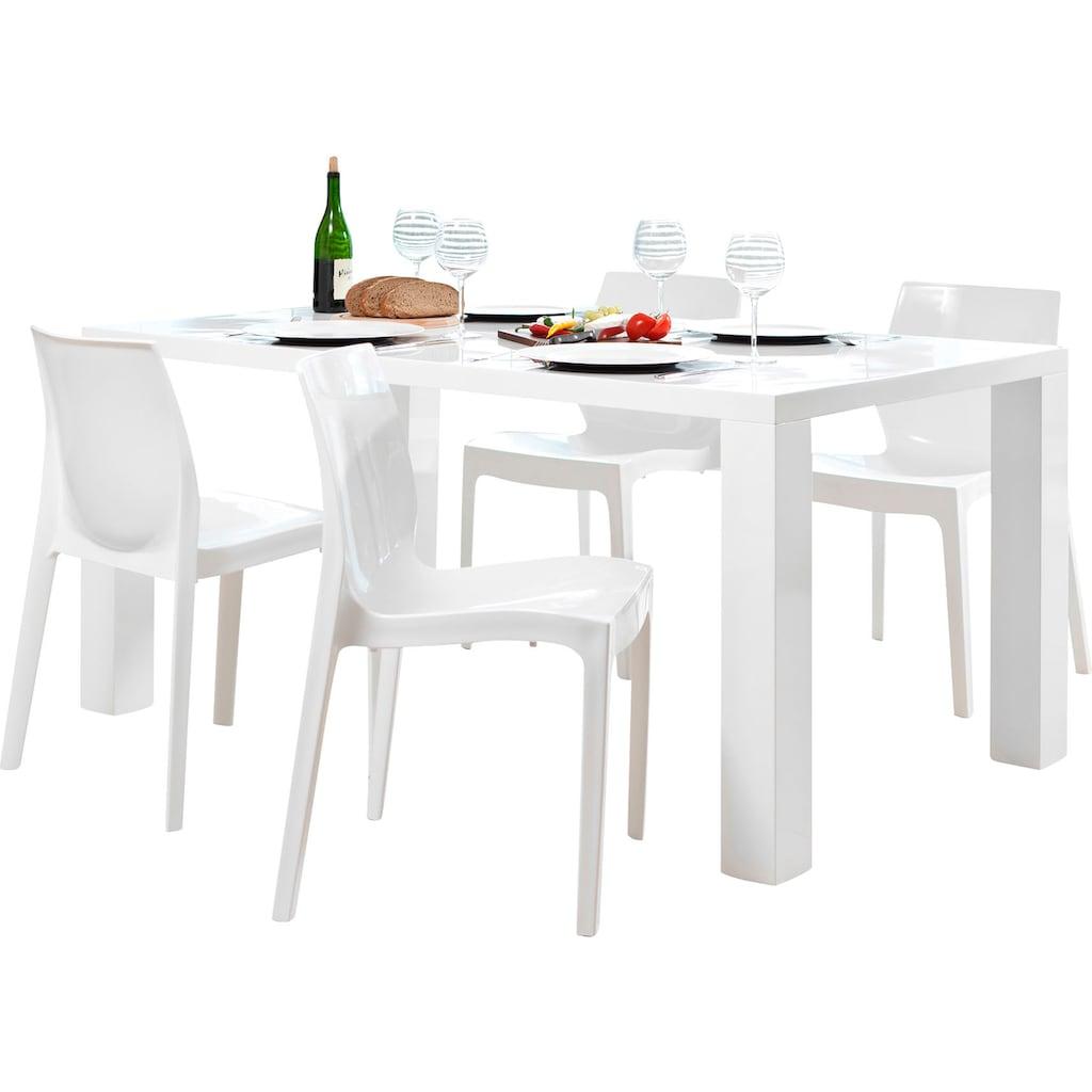 SalesFever Essgruppe, (Set, 5 tlg.), bestehend aus 4 modernen Kunststoffstühlen und einem 160 cm breitem Tisch