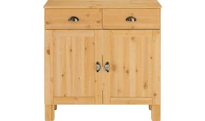 Home affaire Unterschrank »Oslo«, 85 cm breit, 38 cm tief, als Sideboard nutzbar, 2 Türen, 2 Schubkästen, aus massiver Kiefer, Metallgriffe, Landhaus-Optik kaufen