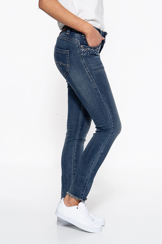 Blue Monkey Skinny-fit-jeans »laura 10125« Mit Perlen Verzierte Eingrifftaschen Blau