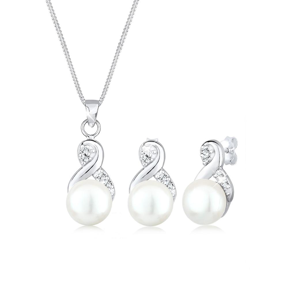 Elli Schmuckset »Infinity Perlen Kristalle 925 Silber«