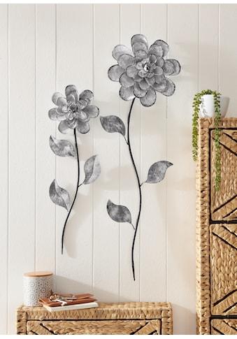 Home affaire Wanddekoobjekt »Blumen«, Wanddeko, aus Metall kaufen