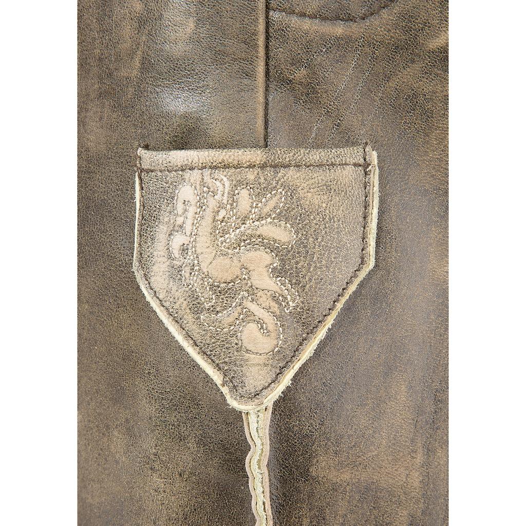 MarJo Trachtenlederhose, (2 tlg., mit Gürtel), mit Gürtel