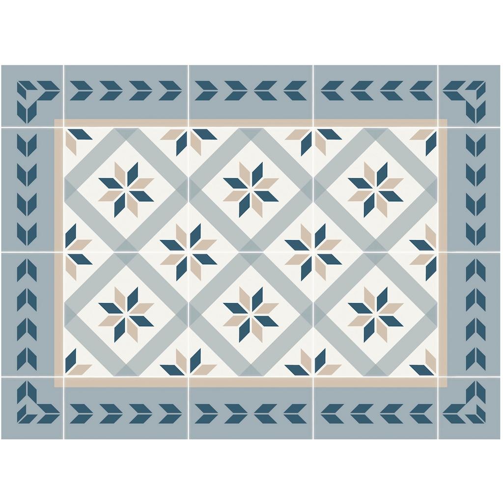 Contento Platzset »Matteo, Fliesen, blau«, (Set, 4 St.), für innen und außen geeignet, wasserabweisend