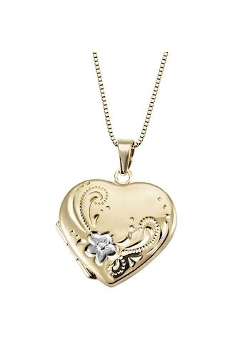 goldmaid Collier, 585/- Gelbgold Medallion Herz Blume kaufen