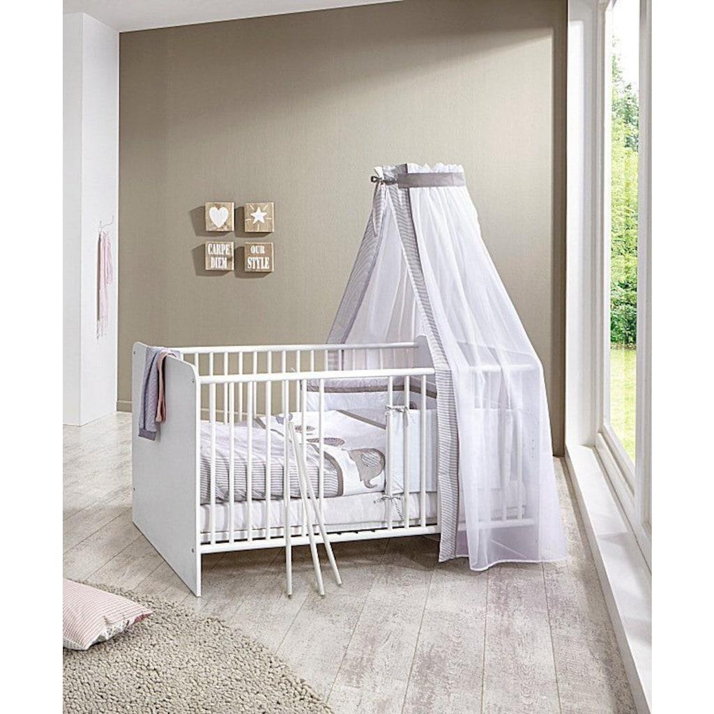 BMG Babyzimmer-Komplettset »Luis«, (Set, 7 St.), Bett + Wickelkommode + 2-trg. Schrank + Standregal + Unterstellregal (Set 2-tlg.) + Wandboard