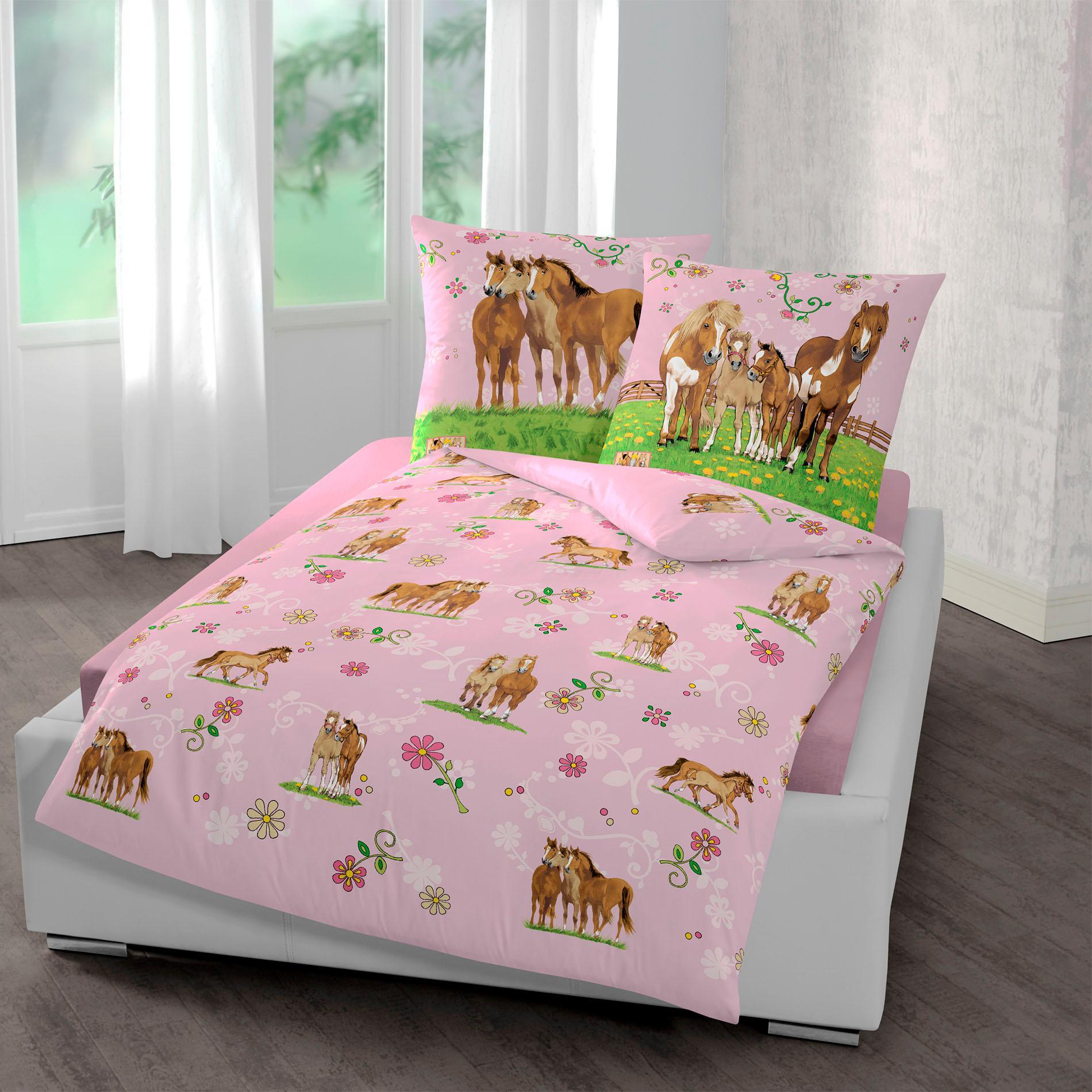 Kinderbettwäsche »Pferde«, Pferdefreunde | Kinderzimmer > Textilien für Kinder > Kinderbettwäsche | Rosa | Baumwolle | PFERDEFREUNDE