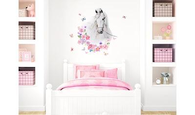 little DECO Wandtattoo »Little Deco Wandtattoo Pferdekopf mit Blumen & Schmetterlingen« kaufen