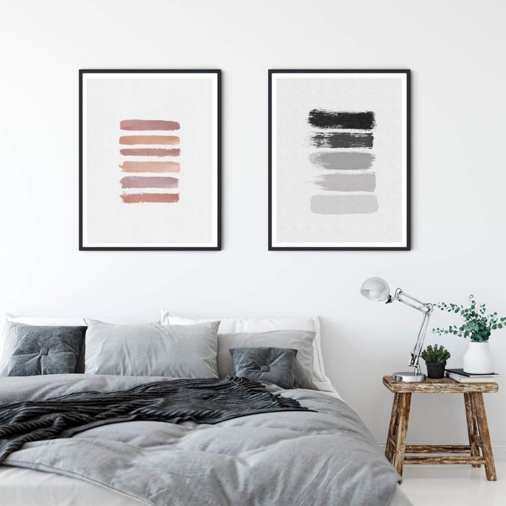 Wall-Art Poster »50 Shades of Grey Schwarz Grau«, Grafik, (1 St.), Poster, Wandbild, Bild, Wandposter