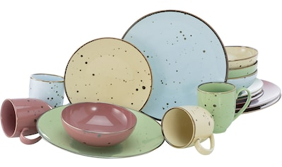 CreaTable Kombiservice »Cottage Pastell«, (Set, 16 tlg.), 4 pastellige Farben im Set kaufen