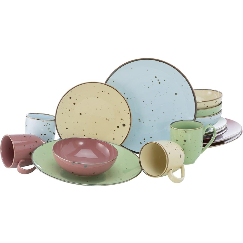 CreaTable Kombiservice »Cottage Pastell«, (Set, 16 tlg.), 4 pastellige Farben im Set