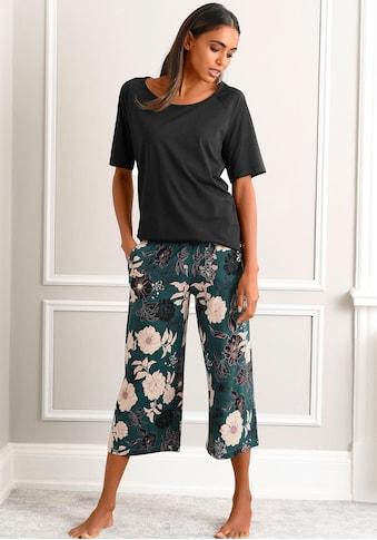 s.Oliver Bodywear Capri-Pyjama, mit geblümter 3/4-Culotte kaufen