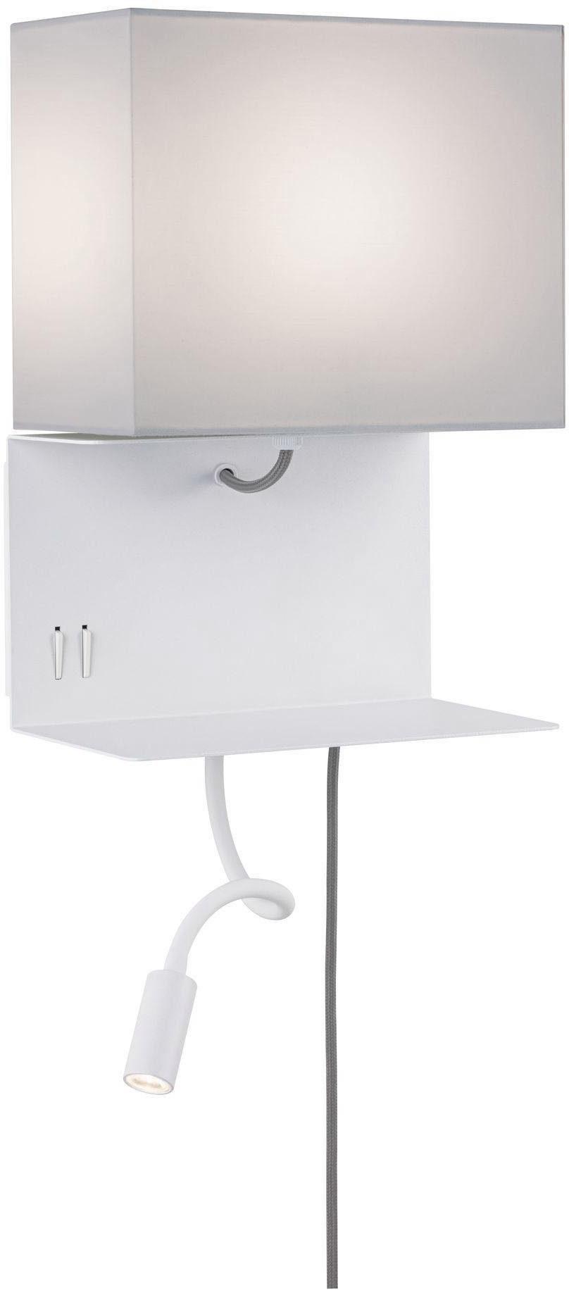 Paulmann LED Wandleuchte Merani Grau/Weiß max 1x40W/3W E27 Stoff/Metall, E27, Warmweiß