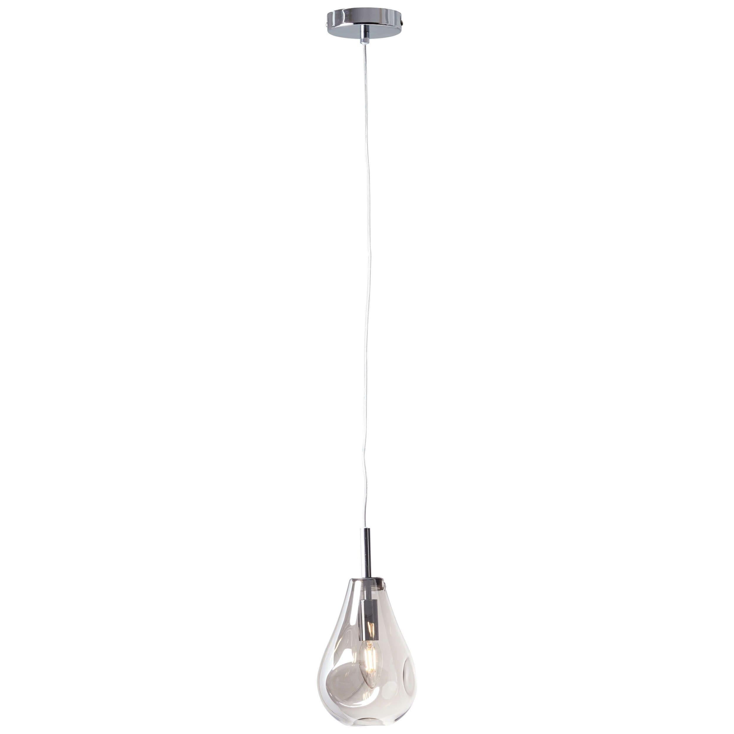 Brilliant Leuchten Deckenleuchten, E14, Drops Pendelleuchte 1flg rauchglas/chrom
