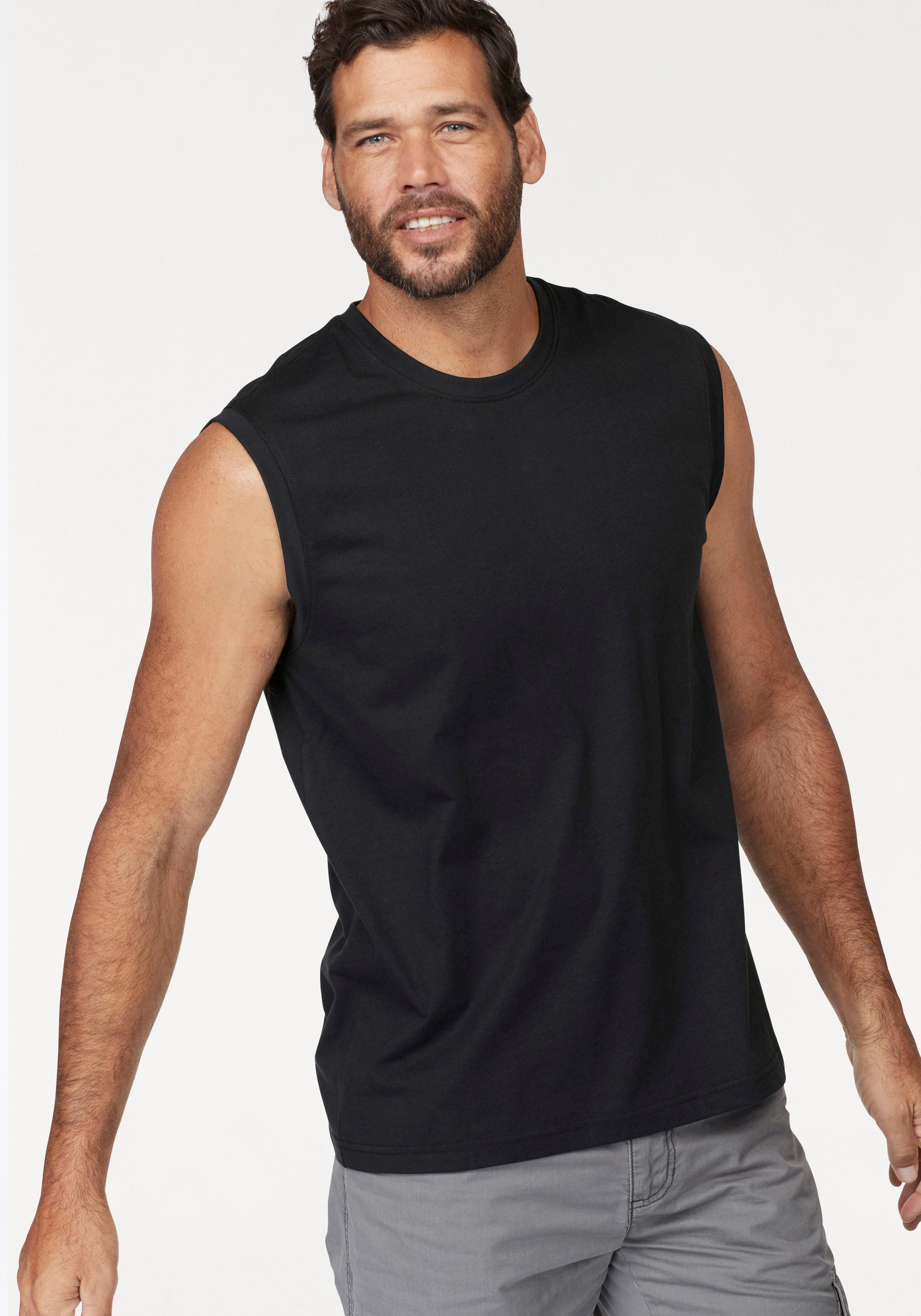 Man's World Muscleshirt, aus reiner Baumwolle schwarz Herren Tank Tops Shirts Muscleshirt