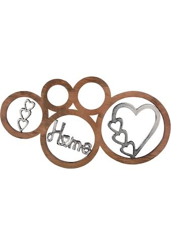 GILDE Wanddekoobjekt »Home«, Wanddeko, aus Holz und Metall, mit Schriftzug, Herz Form,... kaufen