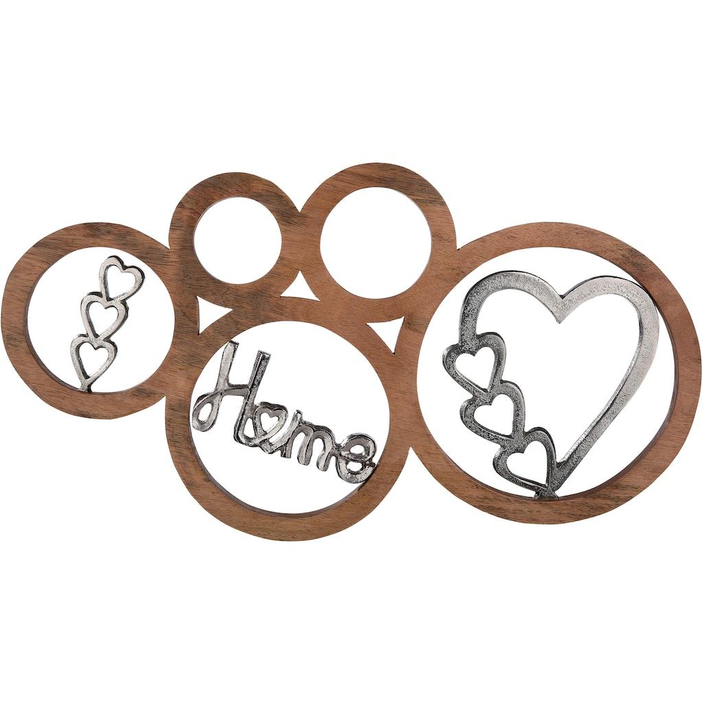 GILDE Wanddekoobjekt »Home«, Wanddeko, aus Holz und Aluminium, mit Schriftzug, Herz Form, ideal im Esszimmer & Wohnzimmer