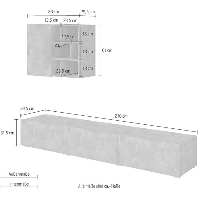 TRENDMANUFAKTUR Wohnwand »Aksel« (Set, 2-tlg)
