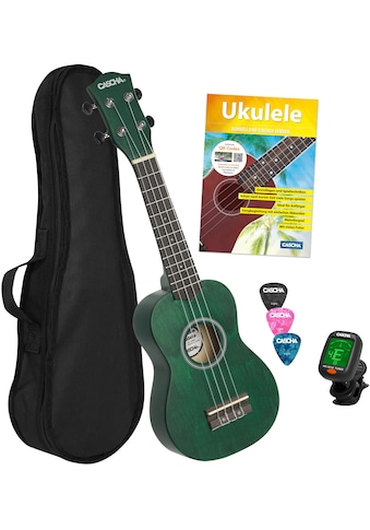 Cascha Ukulele »Sopran, Grün«, mit Tasche, Übungsheft, Plektren und Stimmgerät kaufen