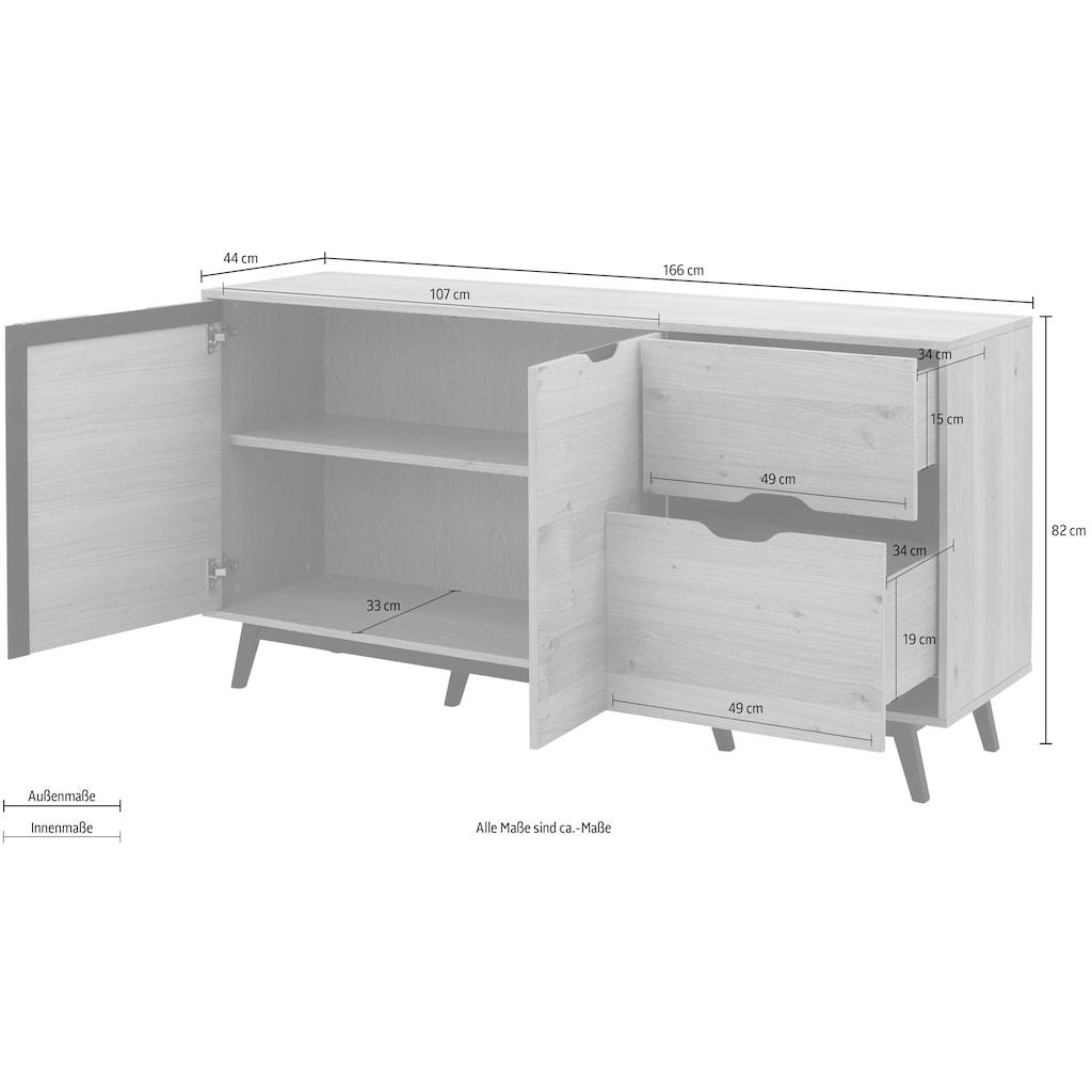 Home affaire Sideboard »Flow«, mit vielen Stauraummöglichkeiten und einer schönen Holzoptik, Höhe 82 cm