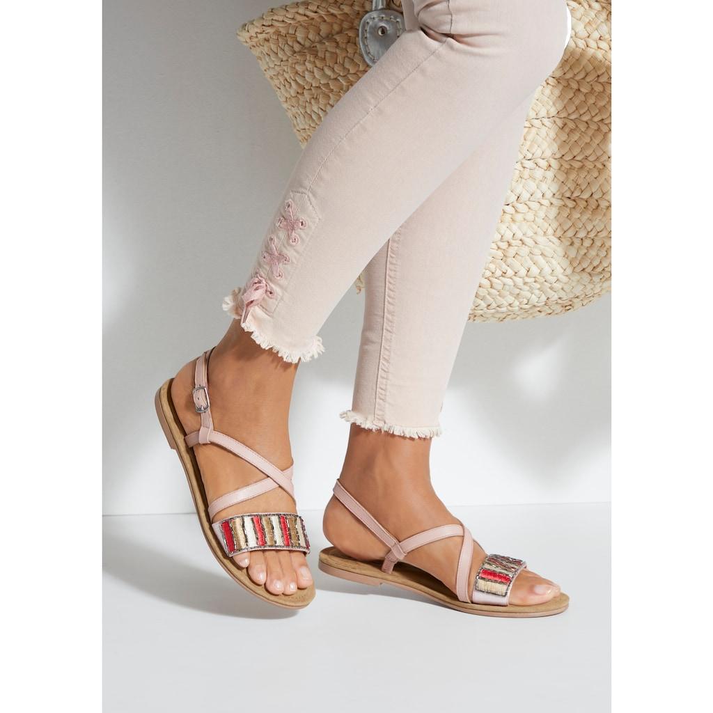 LASCANA Sandale, aus Leder mit dekorativem Band