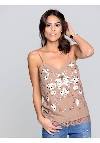 Alba Moda Top mit Blumenstickerei aus Pailletten kaufen