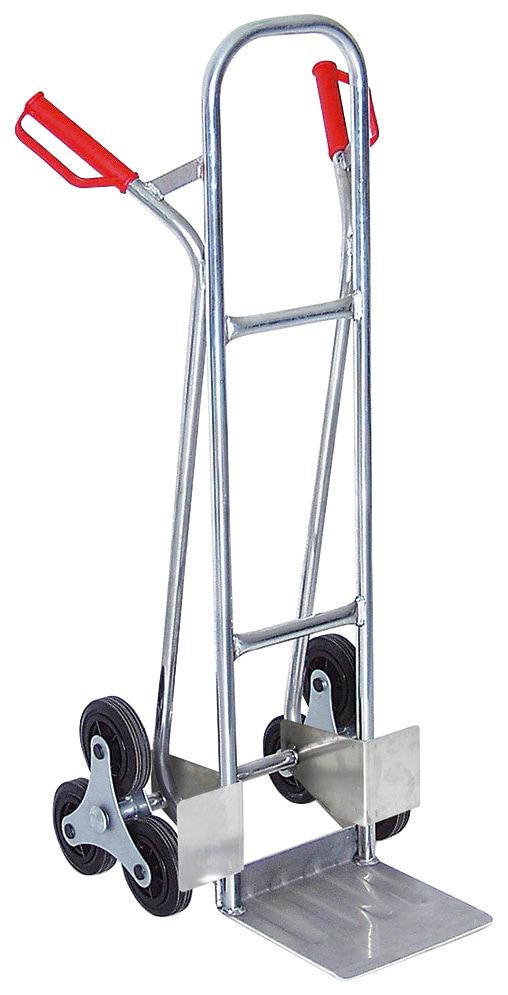 Treppensackkarre, BxTxH 520x560x1210 mm, Tragkraft 150 kg silberfarben Treppensackkarre Sackkarren Transport Werkzeug Maschinen