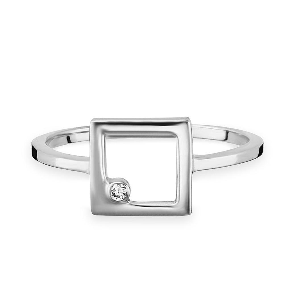 CAÏ Silberring »925/- Sterling Silber rhodiniert Zirkonia Viereck«