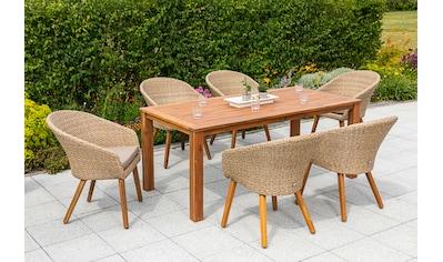 MERXX Gartenmöbelset »Arrone«, (7 tlg.), 6 Sessel mit Tisch kaufen