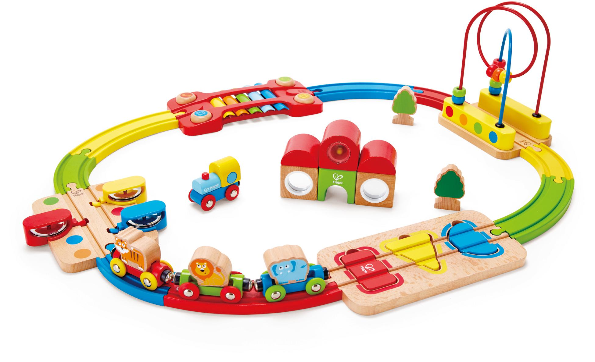 "Hape Spielzeug-Eisenbahn ""Regenbogen-Puzzle Eisenbahnset"" (Set) Technik & Freizeit/Spielzeug/Autos, Eisenbahn & Modellbau/Kindereisenbahnen"