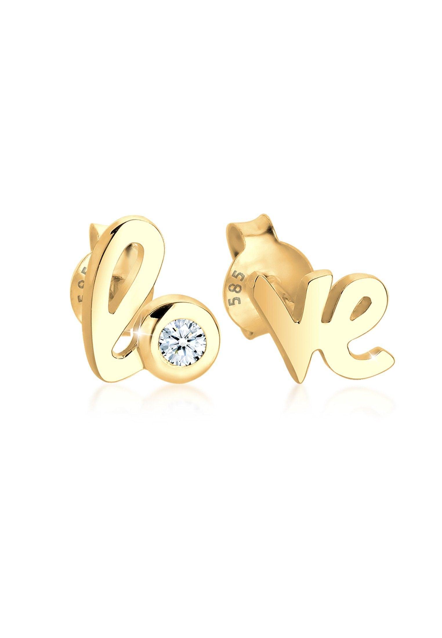 Diamore Paar Ohrstecker Love Wordings Liebe Diamant 003 ct 585 Gelbgold | Schmuck > Ohrschmuck & Ohrringe > Ohrstecker | Diamore
