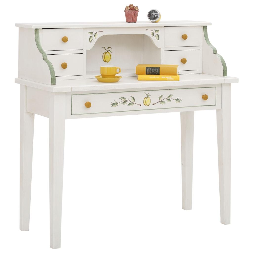 Premium collection by Home affaire Sekretär »Secretaer Zitrone«, aus schönem massivem Fichtenholz, mit einzigartiger Handbemalung, Breite 112 cm