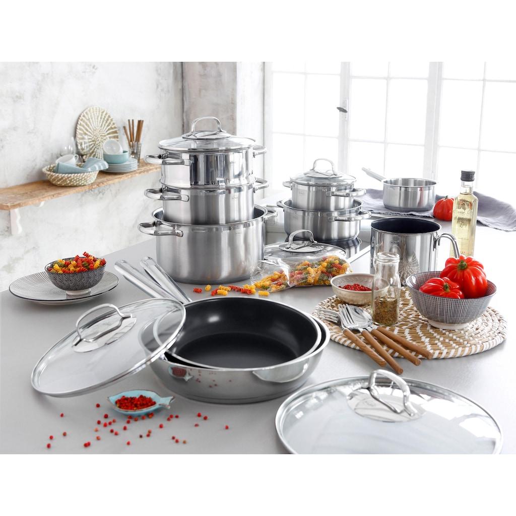RÖSLE Topf-Set »ELEGANCE«, Edelstahl 18/10, (Set, 14 tlg.), mit Glasdeckel und Innenskalierung, spülmaschinen- und induktionsgeeignet