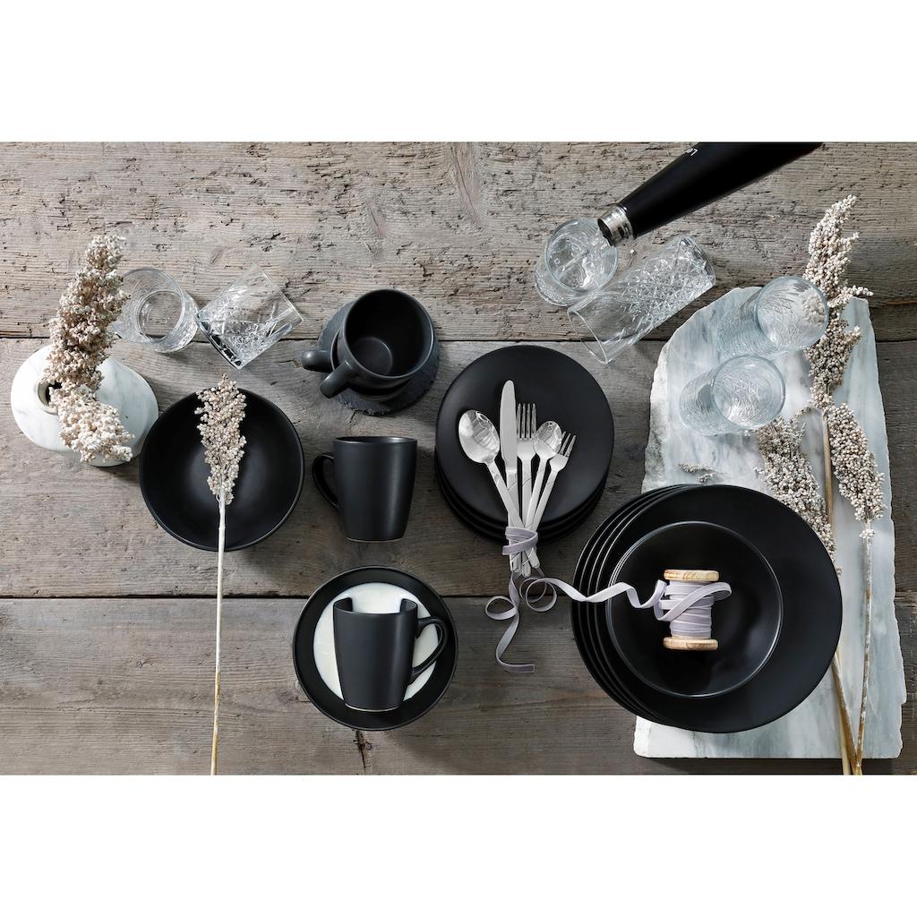 Leonique Kombiservice »Truro«, (Set, 16 tlg.), im schwarzen Schiefer Look