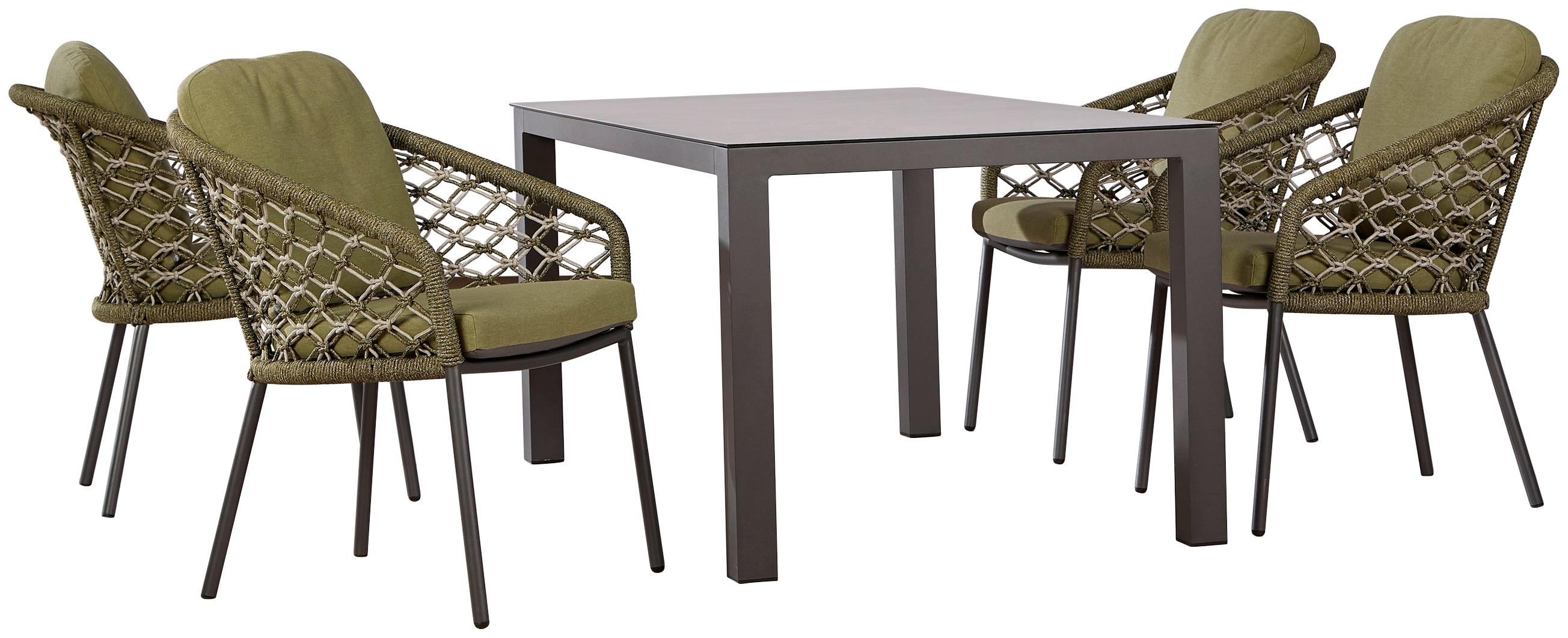 BEST Gartenmöbelset Mali 4 Sessel Tisch 160x90 cm
