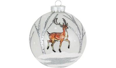 Krebs Glas Lauscha Weihnachtsbaumkugel »CBK50319«, (1 St.), mit winterlicher Dekoration kaufen