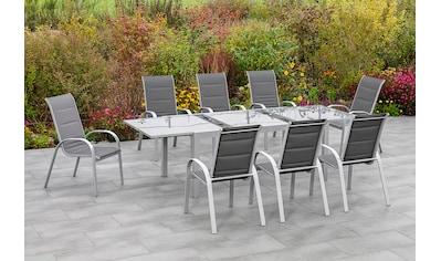 MERXX Gartenmöbelset »Amalfi di lusso«, (9 tlg.), 8 Stapelsessel, Hochlehner mit... kaufen
