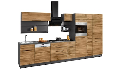 HELD MÖBEL Küchenzeile »Tulsa«, mit E-Geräten, Breite 360 cm, schwarze Metallgriffe, hochwertige MDF Fronten kaufen