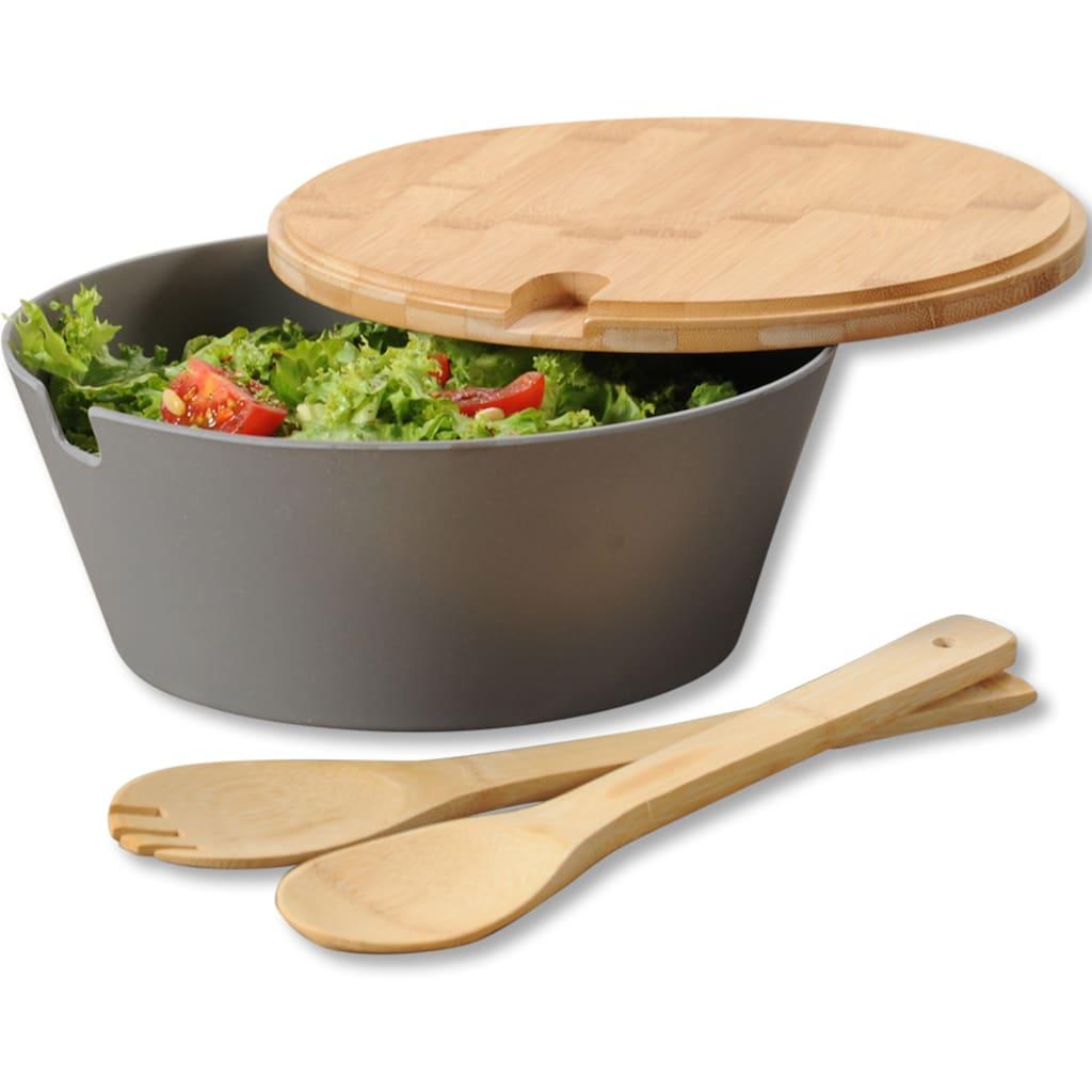 KESPER for kitchen & home Salatschüssel, inkl. Deckel und Salatbesteck